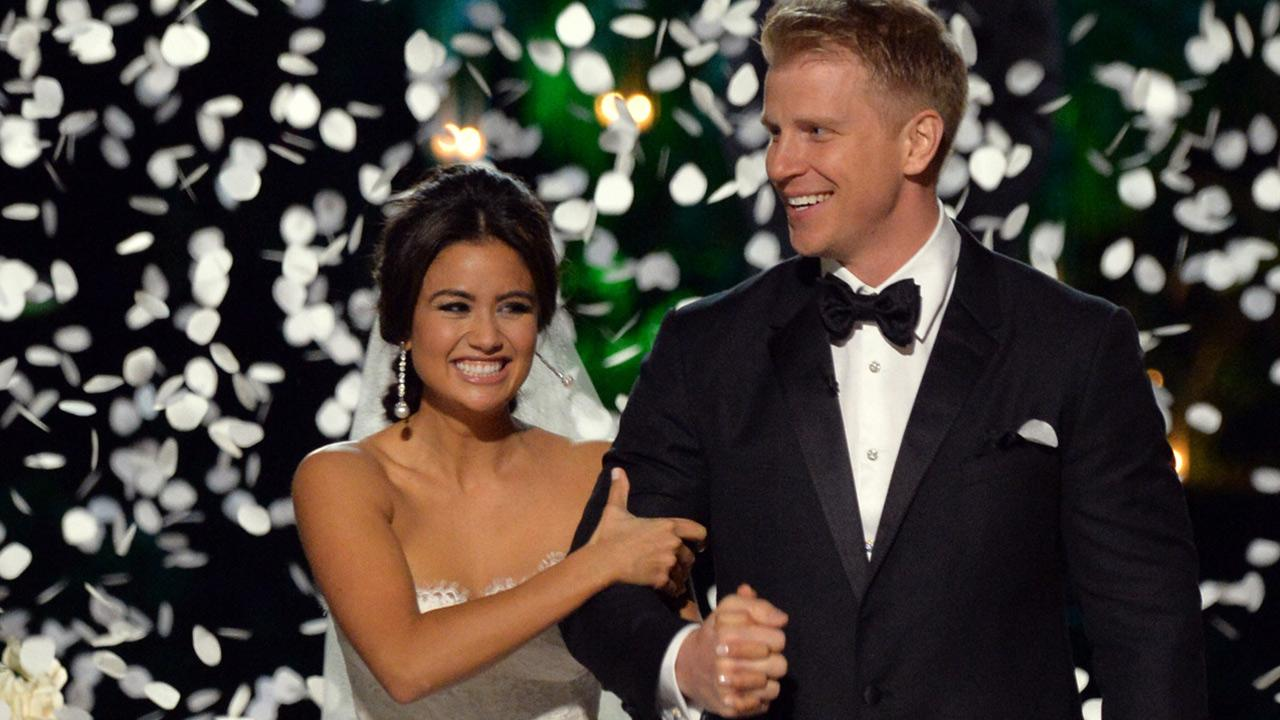 The Bachelor season 17 star Sean Lowe and Catherine Giudici appear at their wedding at the Four Seasons Biltmore hotel in Santa Barbara, California, live on TV as part of ABCs The Bachelor: Sean and Catherines Wedding special on Jan. 26, 2014.