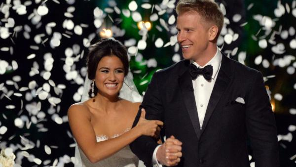 The Bachelor season 17 star Sean Lowe and Catherine Giudici appear at their wedding at the Four Seasons Biltmore hotel in Santa Barbara, California, live on TV as part of ABCs The Bachelor: Sean and Catherines Wedding special on Jan. 26, 2014. - Provided courtesy of ABC Photo / Todd Wawrychuk