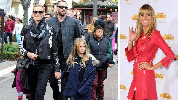 Heidi Klum appears with Martin Kirsten and her children at The Grove in Los Angeles, California on Dec. 21, 2013. Heidi Klum appears at the 50th anniversary of Sports Illustrated Swimsuit Issue in Los Angeles, California on Jan. 14, 2014.