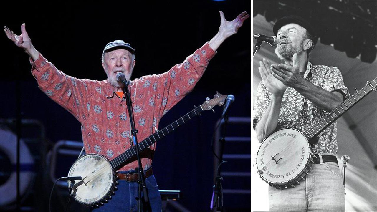 Pete Seeger performs at the Clearwater Concert: Creating the Next Generation of Environmental Leaders, a concert event in celebration of Seegers 90th birthday, at Madison Square Garden in New York on May 3, 2009. / Pete Seeger performs in Paris in 1980.