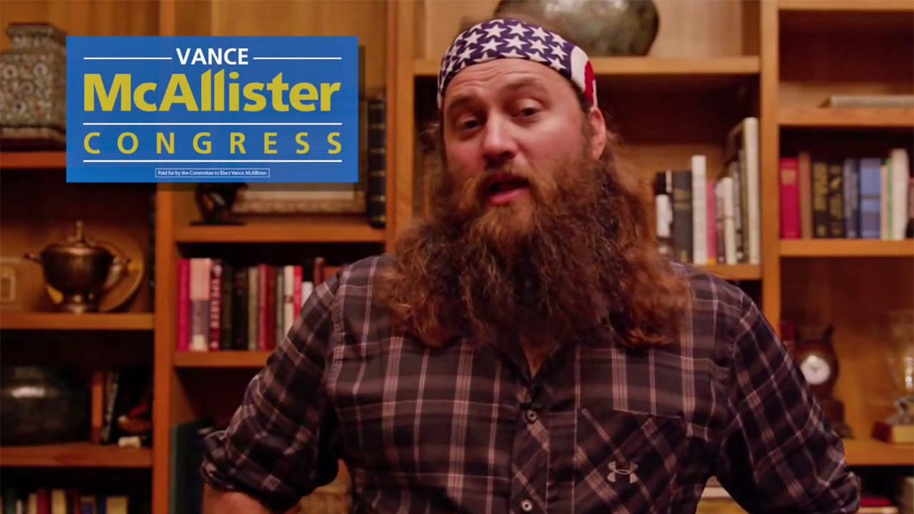 Ducky Dynasty star Willie Robertson appears in a video in which he endorses Vance McAllister for Congress. He won his seat. On Jan. 28, 2014, the Republican politician said Robertson will be his guest at the State of the Union Address. <span class=meta>(youtube.com&#47;channel&#47;UCUhYVsns6M_rlfyOcA4vKxQ)</span>