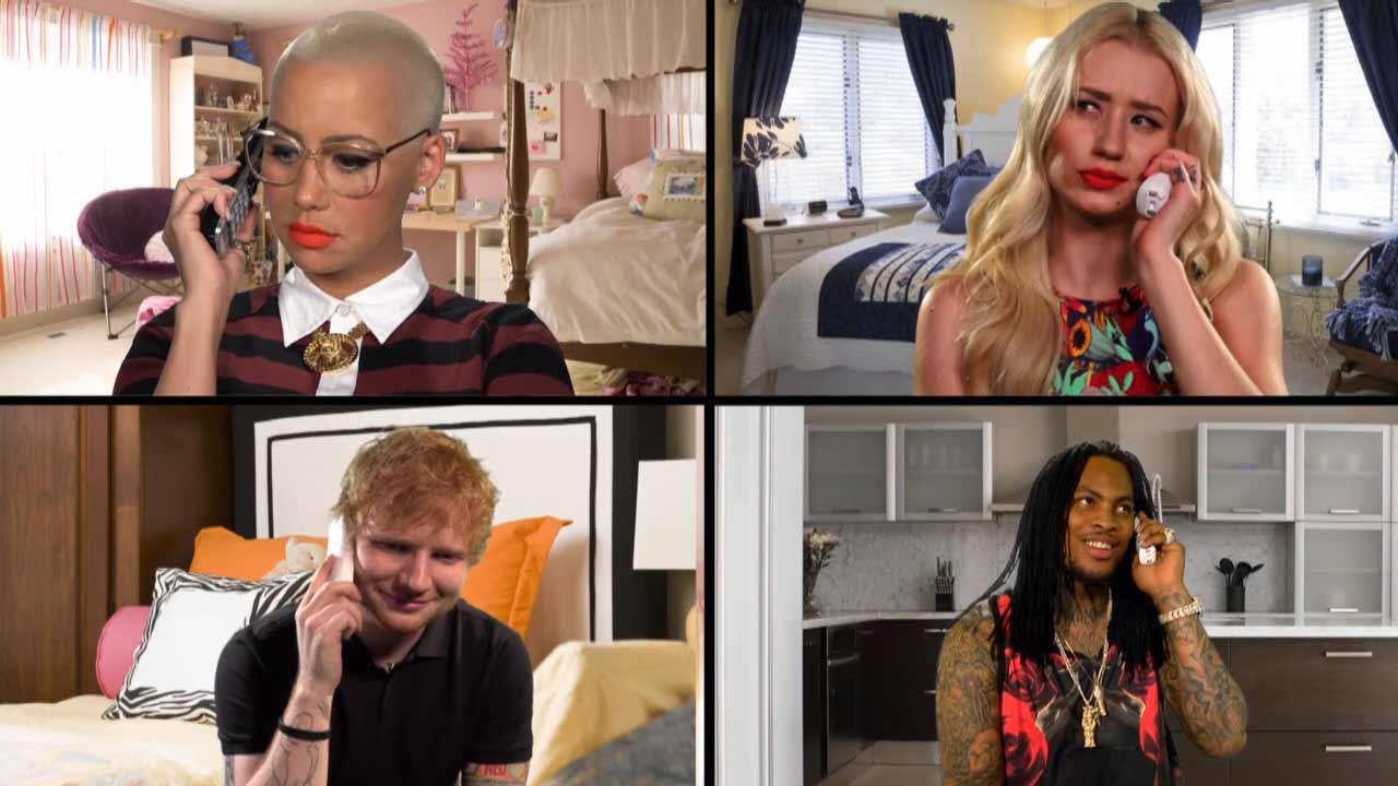 Amber Rose, Ed Sheeran, Iggy Azalea and Waka Flocka Flame reenact a scene from Mean Girls for MTVs Retromania: Throwback Theater on Jan. 28, 2014.