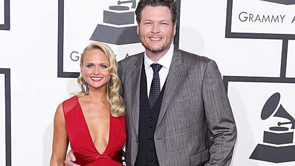 Miranda Lambert and Blake Shelton appear at the 56th annual Grammy Awards in Los Angeles, California on Sunday, Jan. 26, 2014. - Provided courtesy of Bret Hartman / CBS