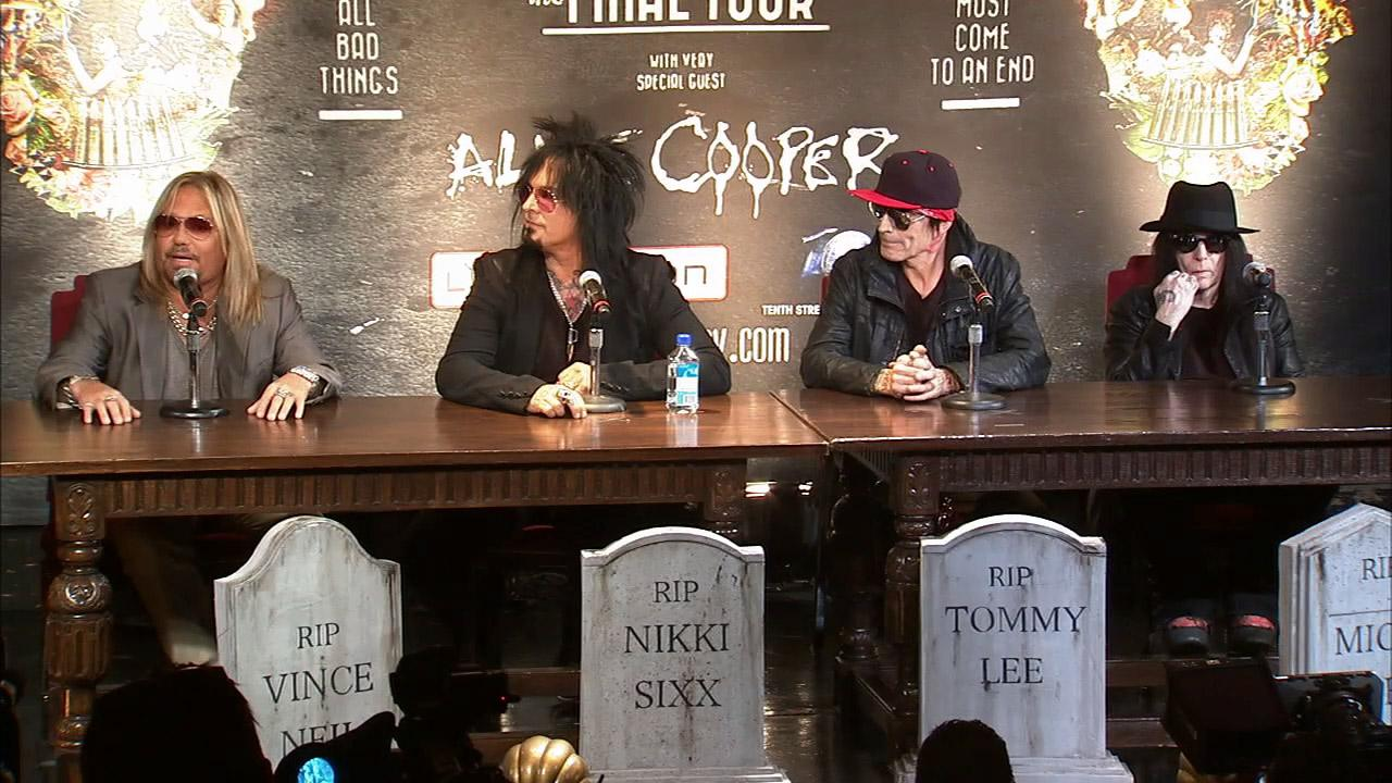Motley Crue members talk about their upcoming split and Final Tour at a press conference in L.A. on Jan. 28, 2014.