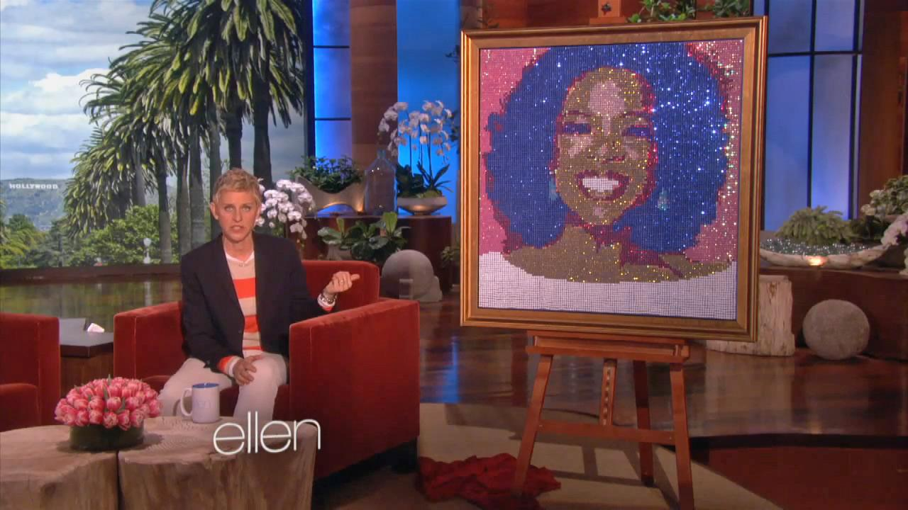 Ellen DeGeneres appears on her talk show The Ellen DeGeneres Show alongside a sequined portrait of Oprah Winfrey, which said was the TV icons 60th birthday gift to Oprah Winfrey, in an episode that aired on Jan. 29, 2014.