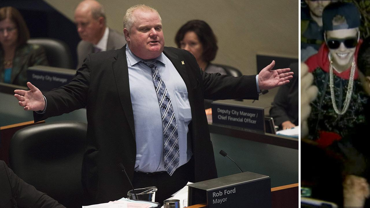 Mayor Rob Ford talks during a City Council debate in Toronto on Wednesday, Nov. 13, 2013. / Justin Bieber arrives at a Toronto police station to turn himself in on an assault charge on Jan. 29, 2014. The mayor defended him in a radio interview on Jan. 30.
