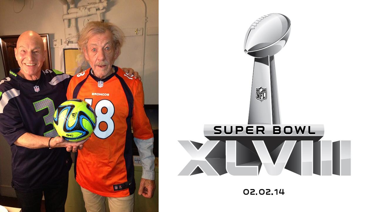 Patrick Stewart shared this 2014 Super Bowl-themed picture of himself with Ian McKellen. / The logo of Super Bowl XLVIII.