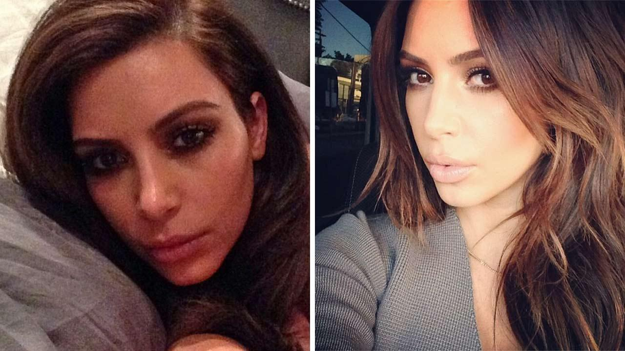 Kim Kardashian appears in photos posted on her official Instagram account, in newly-dyed brunette hair, in February 2014.