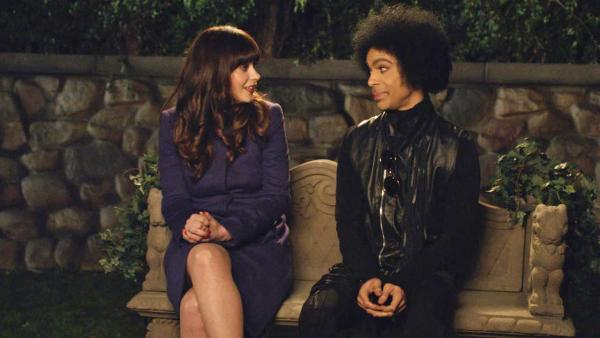 Zooey Deschanel and Prince appear in an episode of New Girl, which aired after the Super Bowl on Feb. 2, 2014. - Provided courtesy of FOX