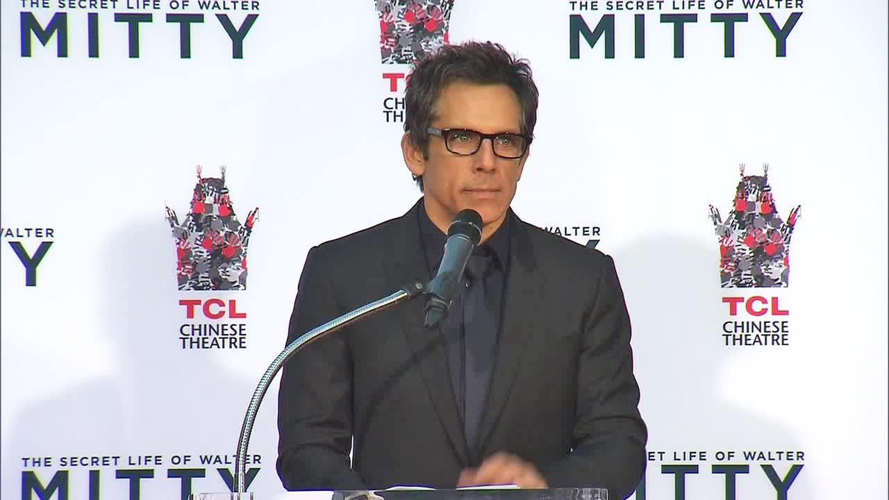 Ben Stiller appears at his hand and footprint ceremony at the TCL Chinese Theatre in Los Angeles on Dec. 3, 2013.