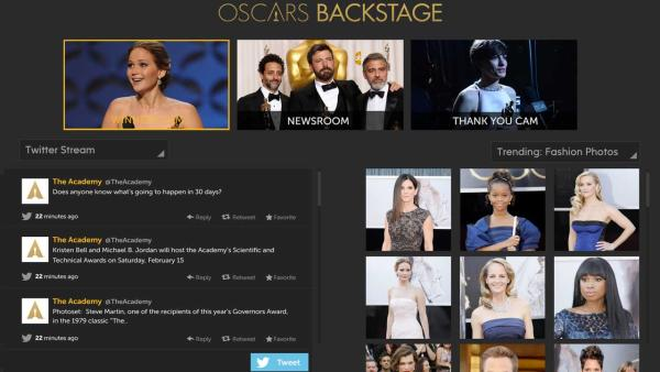 The Watch ABC Oscars Backstage experience, pictured, includes three camera views, trending fashion photos and much more. Get Watch ABC on your computer and mobile device! - Provided courtesy of OTRC