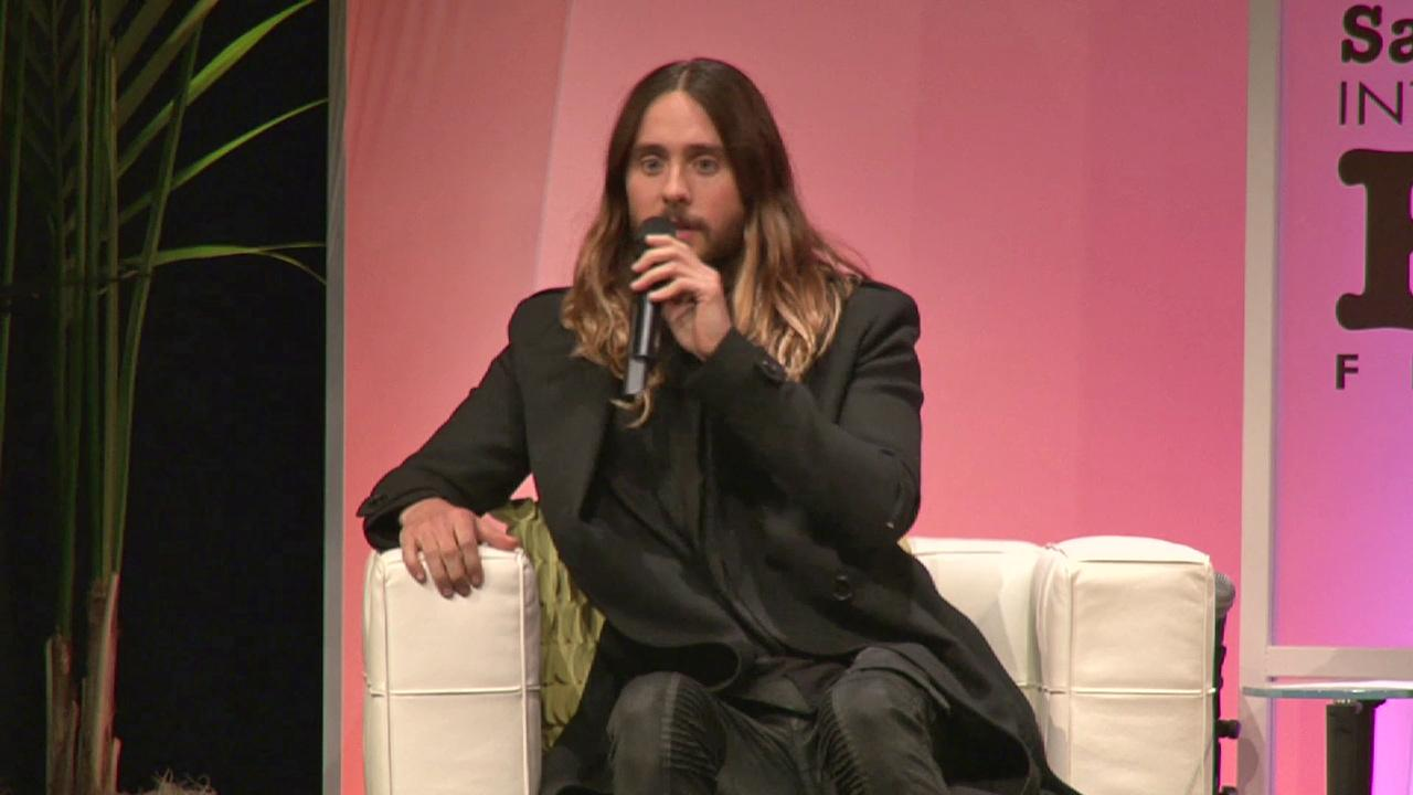 Jared Leto responds to a heckler at the Santa Barbara International Film Festival on Feb. 4, 2014. The person criticized him for getting an award for his transgender role in Dallas Buyers Club.