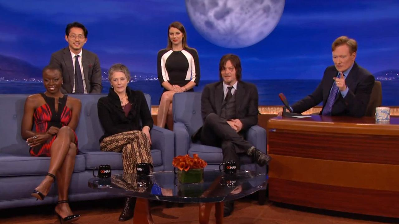 The cast of AMCs The Walking Dead (Norman Reedus, Andrew Lincoln, Lauren Cohen, Steven Yeun and Melissa McBride) appear on Conan OBriens talk show Conan on Feb. 6, 2014 to talk about the second part of season 4.