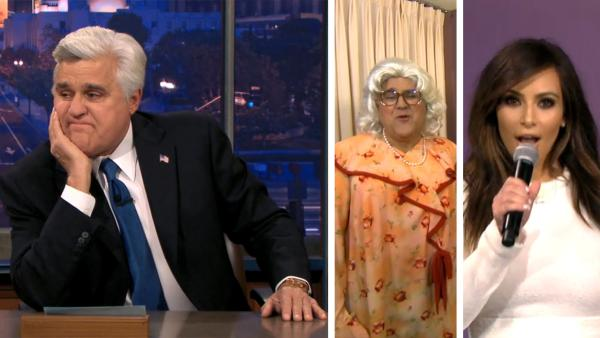 Jay Leno appears on The Tonight Show for the final time as its host on Feb. 6, 2014. The episode featured a slew of celebrity guests, including Kim Kardashian and Tyler Perry (pictured) and also saw Leno dressing in drag. - Provided courtesy of NBC