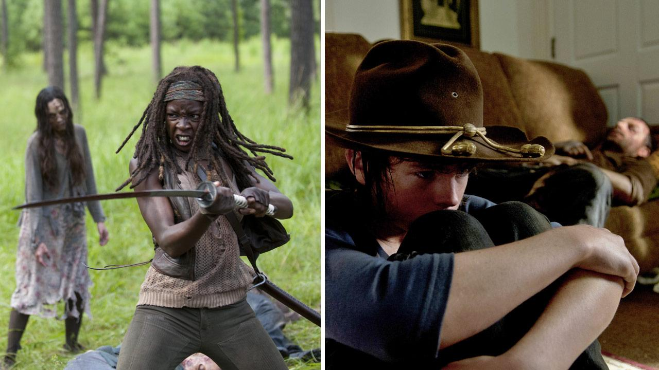 Michonne (Danai Gurira), Carl (Chandler Riggs) and Rick (Andrew Lincoln) appear in scenes from episode 9, the midseason premiere, of season 4 of AMCs The Walking Dead, which aired on Feb. 9, 2014.