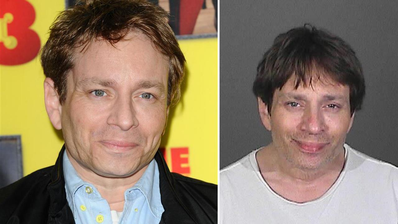 Chris Kattan of SNL fame appears in a mug shot taken after he was arrested on suspicion of DUI after crashing his car on a freeway near Los Angeles on Feb. 10, 2014. / Chris Kattan appears at the premiere of Movie 43 in Los Angeles on Jan. 23, 2013.