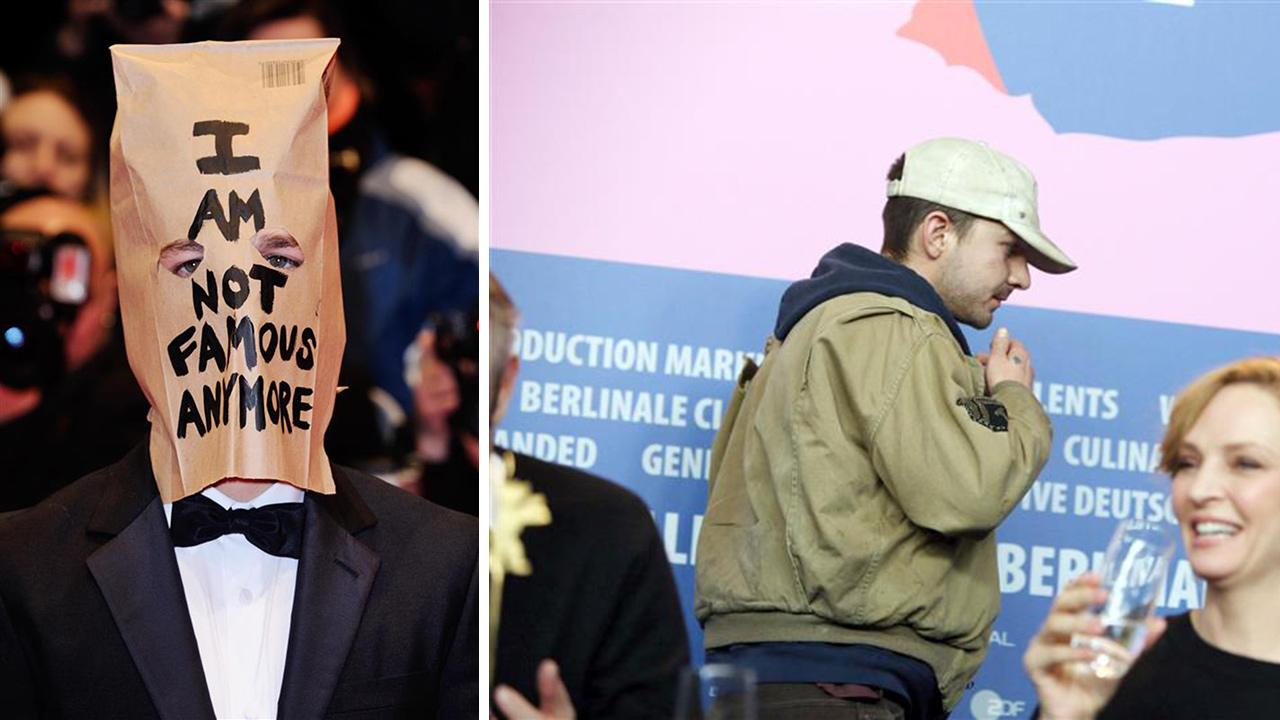 Shia LaBeouf attends the Nymphomaniac premiere at the Berlin Film Festival on Feb. 9, 2014 wearing a bag that reads, Im not famous anymore. / Shia LaBeouf exits a press conference that day.
