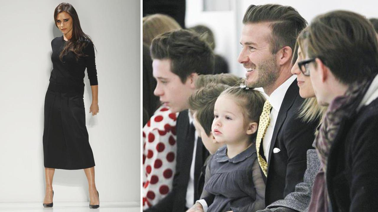 David Beckham appears with daughter Harper and sons Brooklyn, Romeo and Cruz at Victoria Beckhams show during 2014 New York F/W Mercedes-Benz Fashion Week on Feb. 9, 2014.