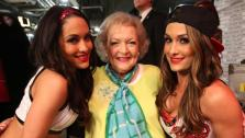 Betty White appears on WWEs Monday Night Raw with the Bella Twins on Feb. 10, 2014. - Provided courtesy of WWE