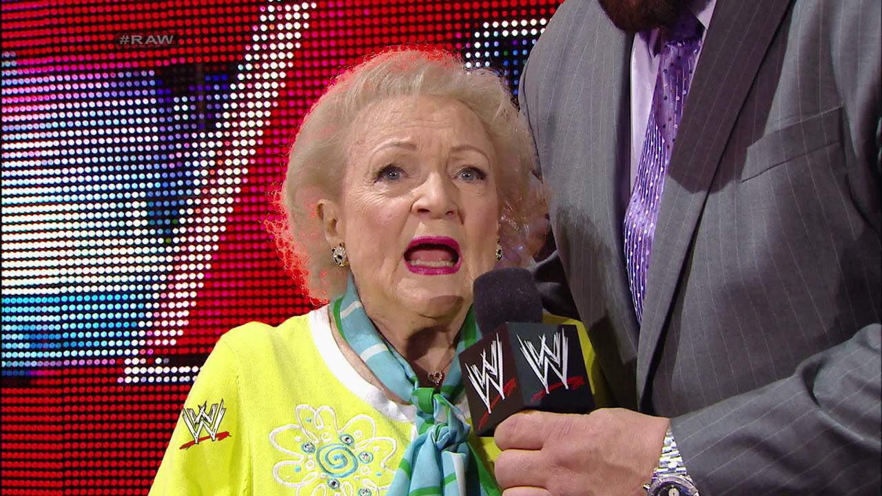 Betty White appears on WWEs Monday Night Raw with John Cena on Feb. 10, 2014.