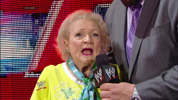 Betty White appears on WWEs Monday Night Raw with John Cena on Feb. 10, 2014. - Provided courtesy of WWE
