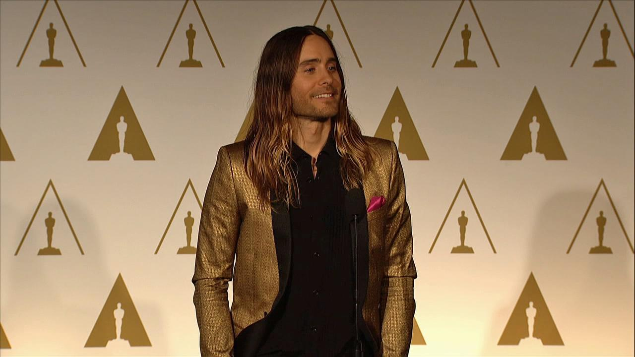 Jared Leto talks about his mother at the 2014 Oscar Nominees Luncheon in Los Angeles on Feb. 10, 2014.