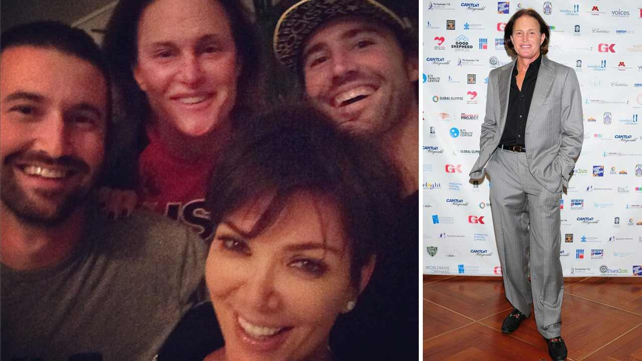Left - Brandon, Bruce, Kris and Brody Jenner appear in an Instagram photo dated Oct. 10, 2013. Right - Bruce Jenner appears at the Cantor Fitzgeralds annual Charity Day event in New York City on Sept. 11, 2013.