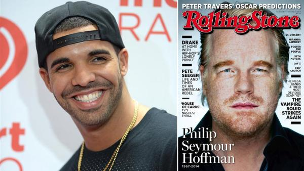 Drake appears at the 2013 iHeartRadio Music Festival in Las Vegas on Sept. 21, 2013. / Philip Seymour Hoffman appears a February 2014 cover of Rolling Stone. - Provided courtesy of Lionel Hahn/AbacaUSA/startraksphoto.com / Rolling Stone
