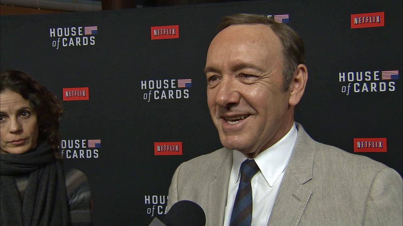 House Of Cards star Kevin Spacey (Frank Underwood) discusses the romantic Valentines Day 2014 release of season 2 at the premiere of the Netflix show in Los Angeles on Feb. 13, 2014.