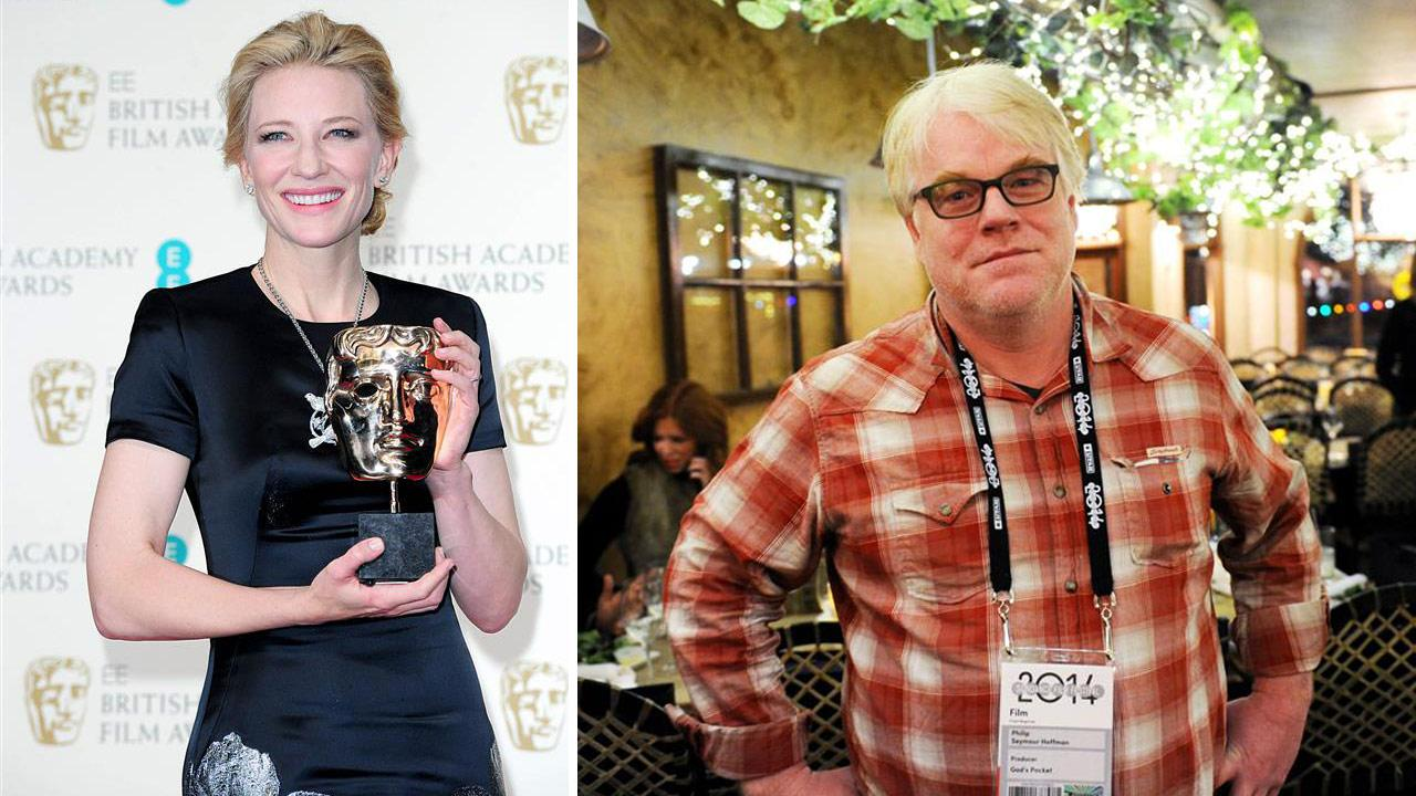 Cate Blanchett appears at the  2014 British Academy Film Awards on Feb. 16, 2014.  /  Philip Seymour Hoffman appears at the Gods Pocket screening on Jan. 17, 2014.