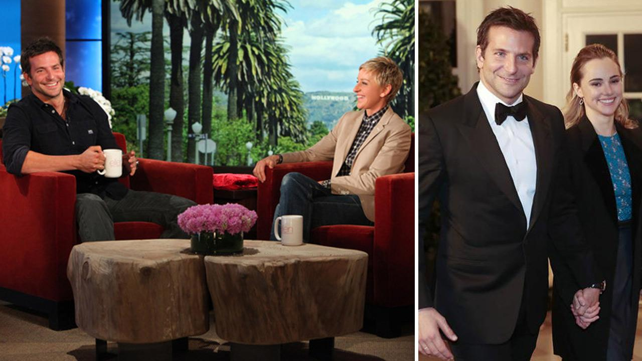 Bradley Cooper appears in an interview with Ellen DeGeneres, which aired on Feb. 17, 2014. / Bradley Cooper and Suki Waterhouse appear at the White House state dinner on Feb. 11, 2014.