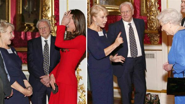 Kate Middleton, aka Kate Duchess of Cambridge, and Helen Mirren chat with Queen Elizabeth II at the Reception for the Dramatic Arts at Buckingham Palace on Feb. 17, 2014. - Provided courtesy of Rex Features / Startraksphoto.com