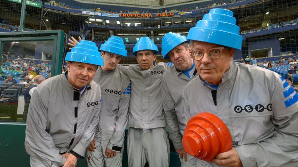 Members of Devo appear at a Tampa Bay Rays game in Florida on Sept. 23, 2012. L-R: Gerald Casale, Jeff Friedl, Bob Mothersbaugh, Bob Casale and Mark Mothersbaugh. Bob Casale died on Feb. 17, 2014 from heart failure, his brother Gerald said.