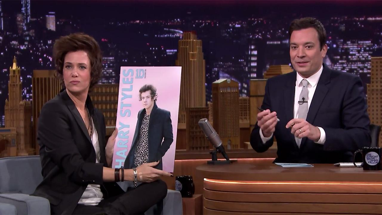 Kristen Wiig impersonates One Direction singer Harry Styles on The Tonight Show Starring Jimmy Fallon on Feb. 18, 2014.