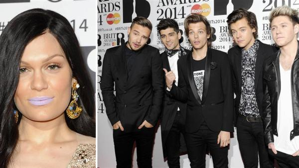 British pop singer Jessie J and One Direction members Zayn Malik, Harry Styles, Louis Tomlinson, Liam Payne and Niall Horan appear at the 2014 BRIT Awards in London on Feb. 19, 2014. - Provided courtesy of Richard Young / REX / Startraksphoto.com
