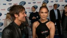 American Idol season 13 judges Keith Urban and Jennifer Lopez talk to OTRC.com at the FOX shows party for the 13 finalists in Los Angeles on Feb. 20, 2014. - Provided courtesy of OTRC