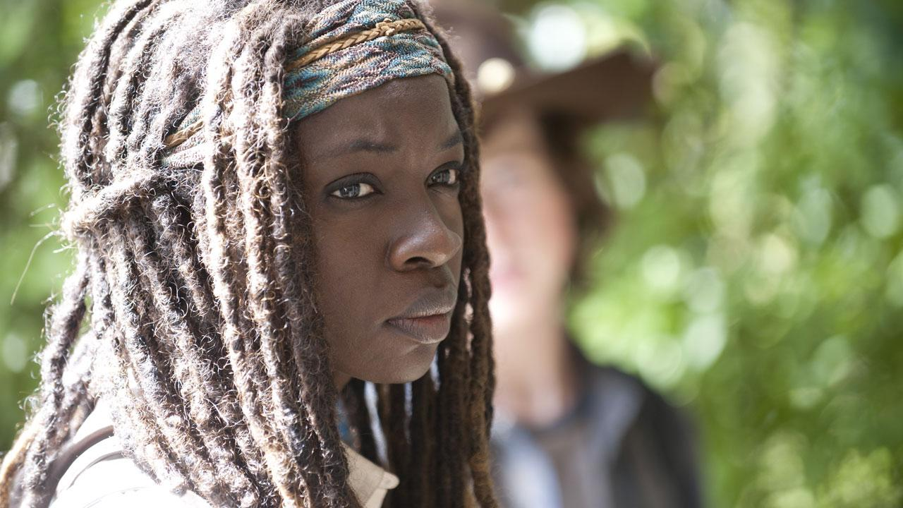 Danai Gurira appears as Michonne in a scene AMCs The Walking Dead, season 4, episode 11 -- Claimed -- that aired on Feb. 23, 2014.
