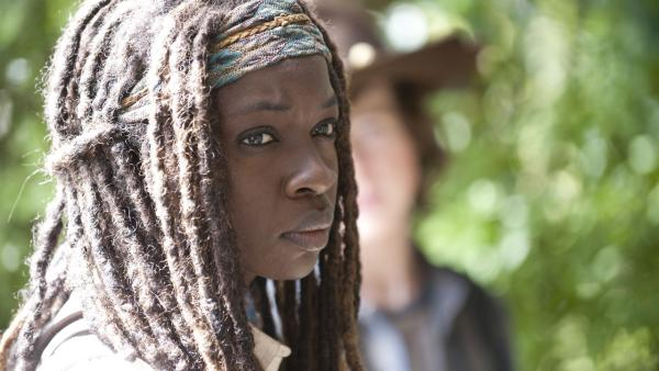 Danai Gurira appears as Michonne in a scene AMCs The Walking Dead, season 4, episode 11 -- Claimed -- that aired on Feb. 23, 2014. - Provided courtesy of Gene Page / AMC