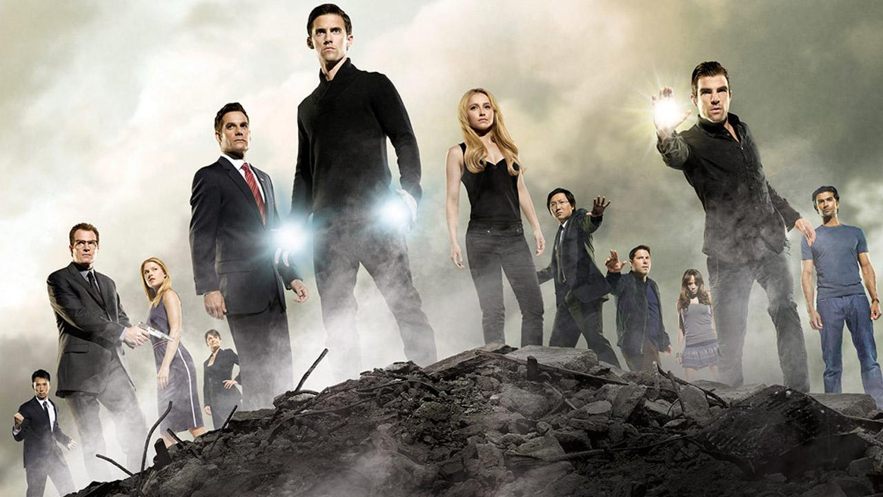 Hayden Panettiere, Zachary Quinto, Milo Ventimiglia, Ali Larter, Greg Grunberg, Jack Coleman and Adrian Pasdar appear in a 2007 promotional photo for Heroes.