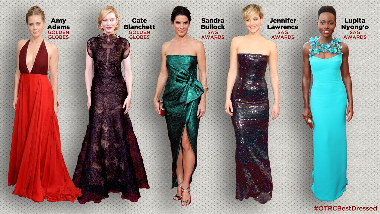 Amy Adams and Cate Blanchett appear at the 2014 Golden Globe Awards. / Sandra Bullock, Jennifer Lawrence and Lupita Nyongo appear at the 2014 SAG Awards. Which Oscar nominee do you think is #OTRCBestDressed?