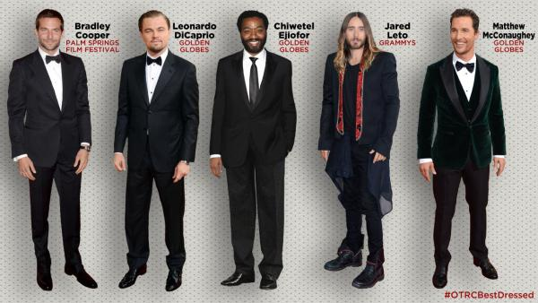 Bradley Cooper attends the 2014 Palm Springs Film Festival. / Leonardo DiCaprio, Chiwetel Ejiofor attend the 2014 Golden Globe Awards. / Jared Leto attends the Grammys. / Matthew McConaughey appears at the Globes. Which Oscar nominee is #OTRCBestDressed? - Provided courtesy of OTRC