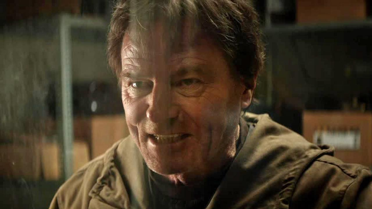 Bryan Cranston (Walter White on Breaking Bad) appears in a scene from the 2014 movie Godzilla, which also stars Elizabeth Olsen.