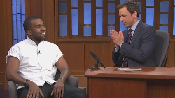 Kanye West appears on Late Night with Seth Meyers on Feb. 25, 2014. - Provided courtesy of NBC