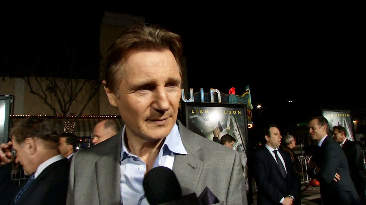 Liam Neeson appears in an interview with OTRC.com at the Los Angeles premiere of Non-Stop on Feb. 24, 2014.