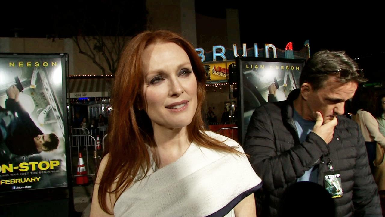 Julianne Moore appears in an interview with OTRC.com at the Los Angeles premiere of Non-Stop on Feb. 24, 2014.