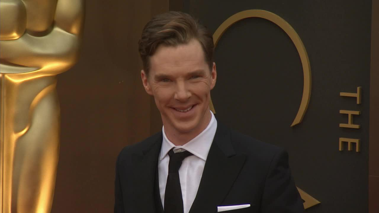 Benedict Cumberbatch, who stars in four Oscar-nominated films, walks the red carpet at the 2014 Oscars in Hollywood, California on Sunday, March 2, 2014.