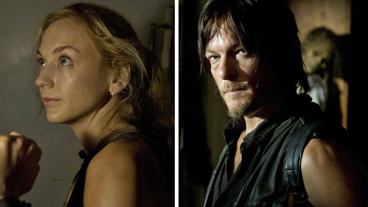 Emily Kinney appears as Beth Greene and Norman Reedus appears as Darly Dixon in a scene from AMCs The Walking Dead, season 4, episode 12 -- Still -- that aired on March 2, 2014.