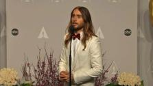 Jared Leto talks backstage after winning Best Supporting Actor at the 2014 Oscars on March 2, 2014.