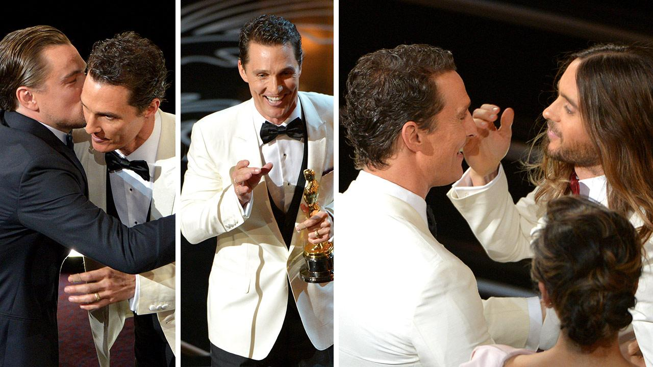 Matthew McConaughey gets congratulated by Leonardo DiCaprio and Jared Leto after winning an Oscar for Dallas Buyers Club on <arch 2, 2014.. <span class=meta>(John Shearer &#47; Invision &#47; AP)</span>