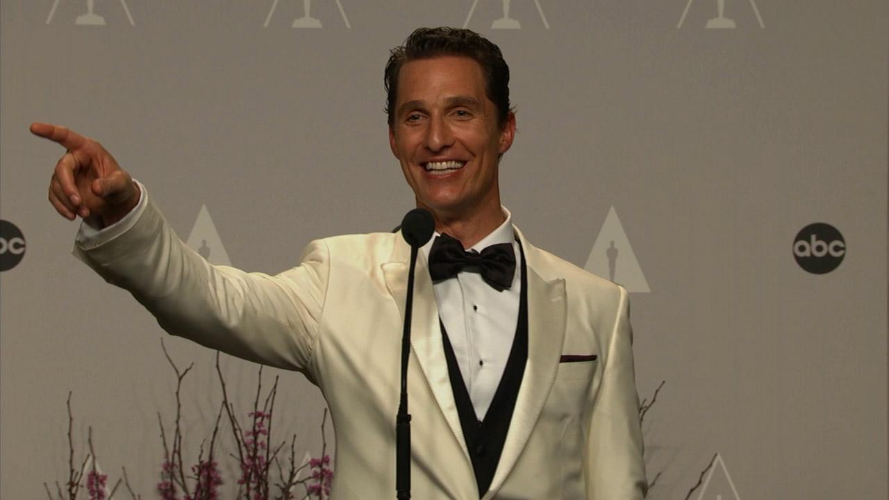 Matthew McConaughey talks backstage after winning Best Leading Actor at the 2014 Oscars on March 2, 2014.